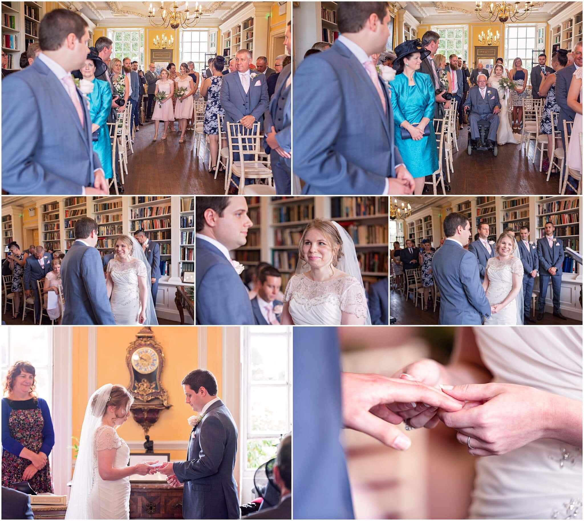 Wedding in the library at Anstey Hall