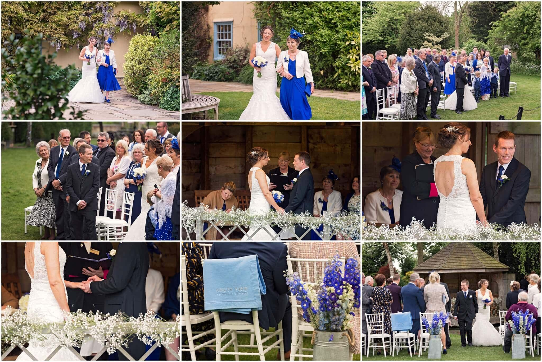 Family and friends watching outdoor wedding ceremony at South Farm