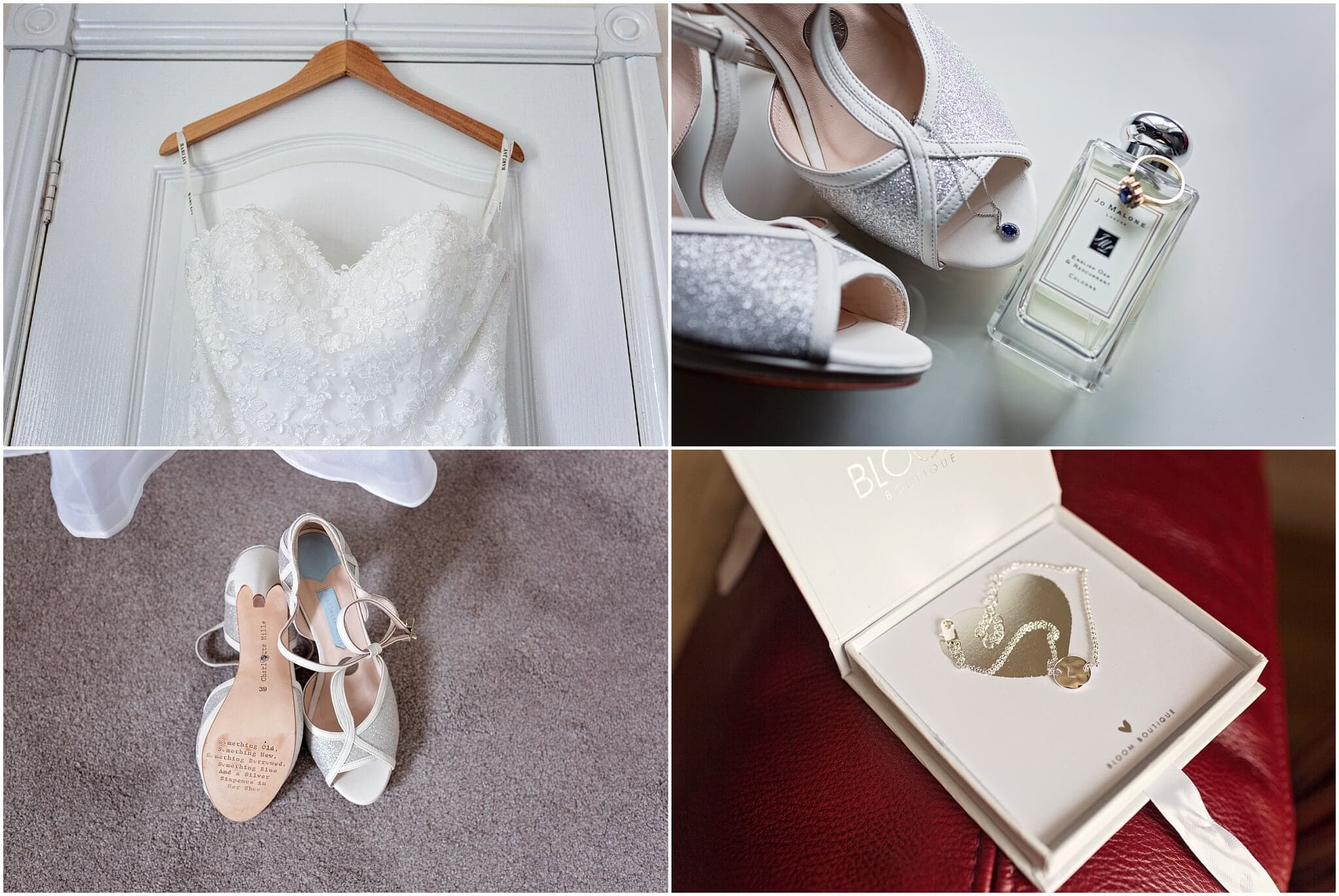 Bridal shoes and wedding dress, Jo Malone scent