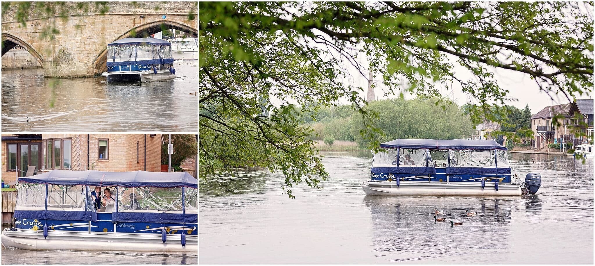 Bride and Groom on river boat