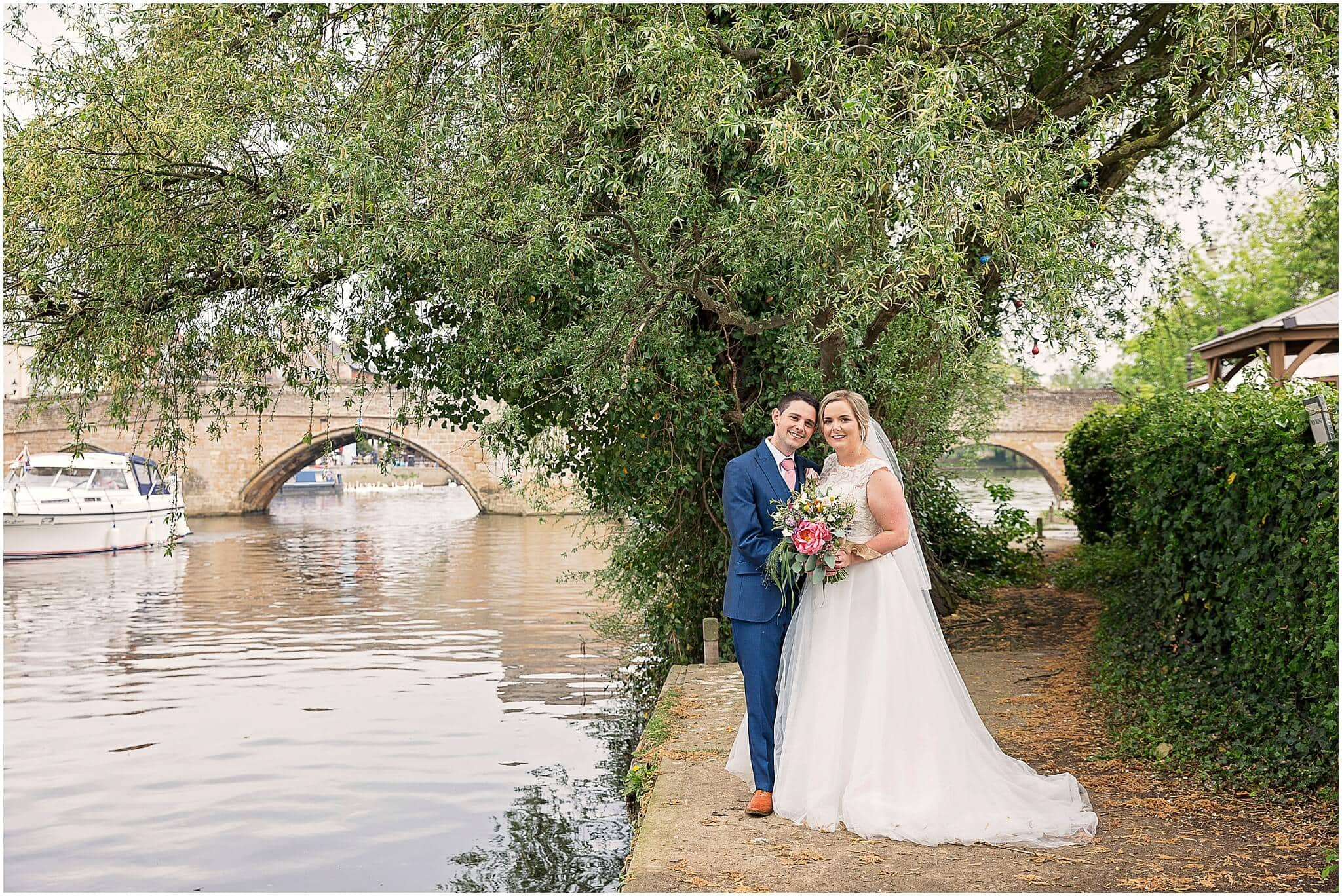 Bride and Groom by the River Ouse