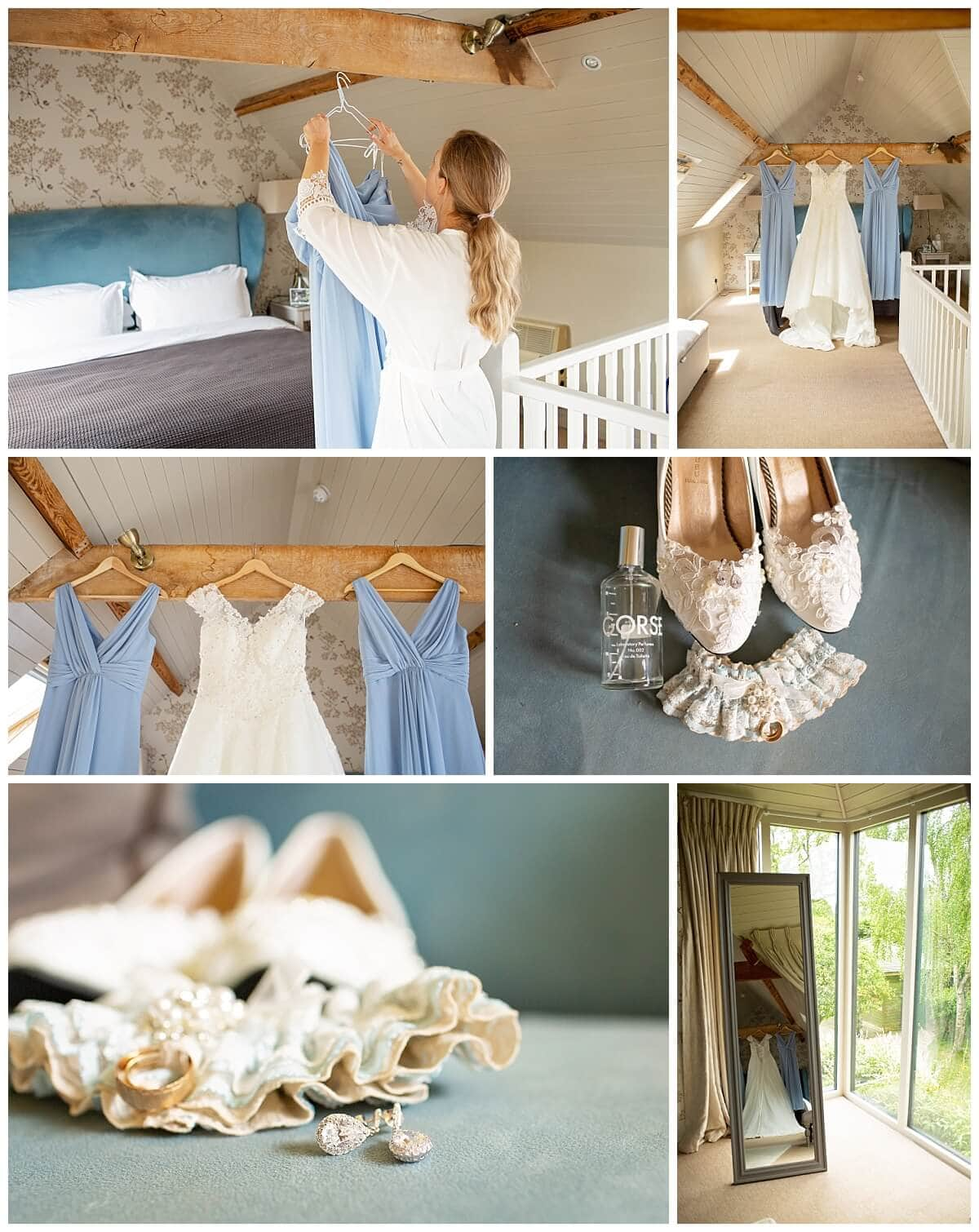 Bride hanging wedding dress at South Farm