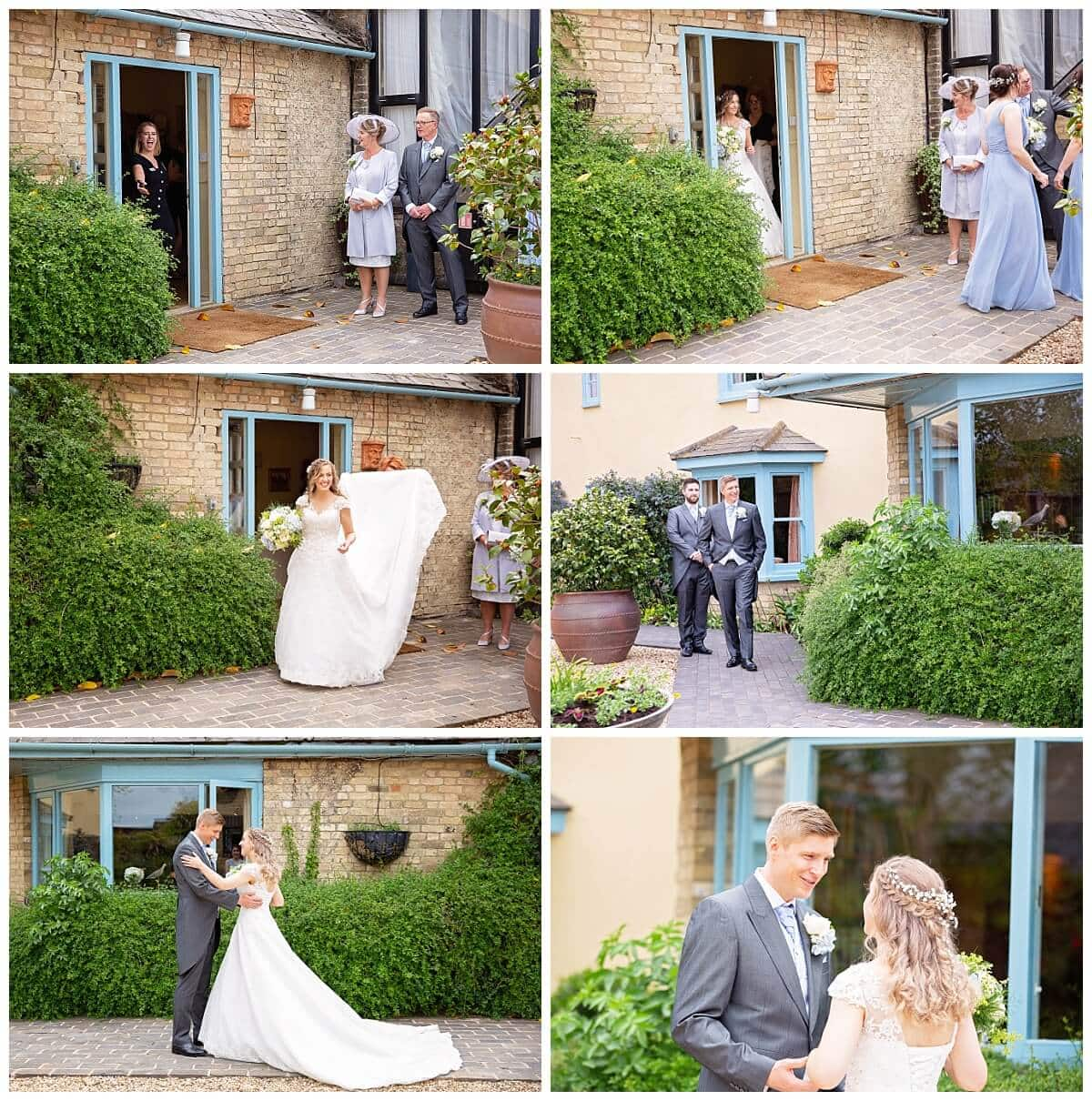 First Look between Bride and Groom at South Farm