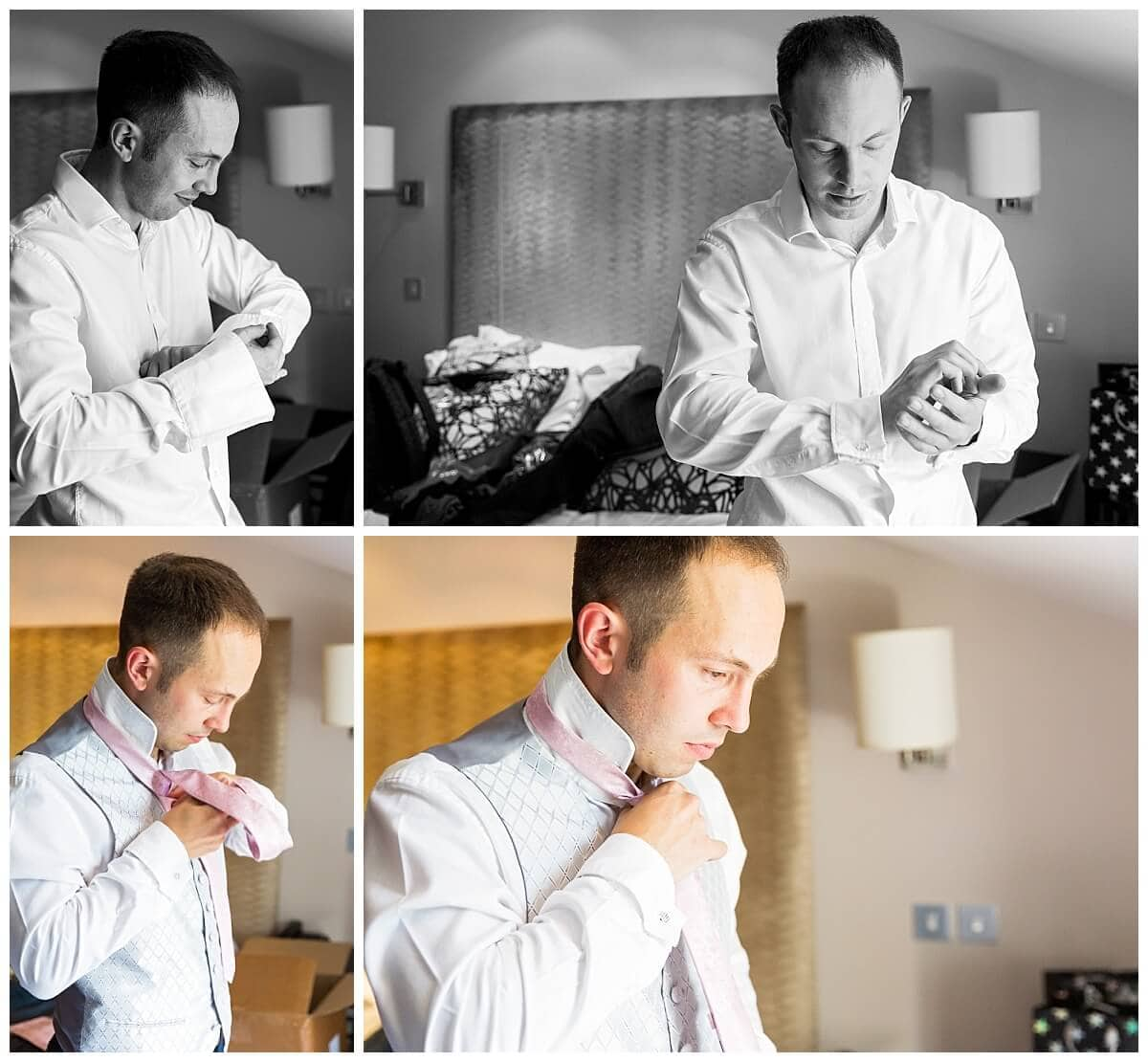 Groom getting ready at Bedford Lodge Hotel Newmarket
