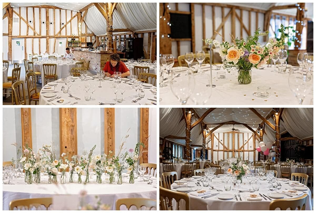 Barn getting ready for a wedding at South Farm Royston