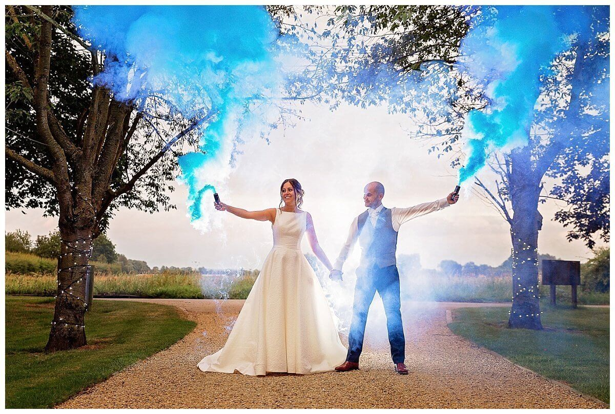 Smoke Bombs at South Farm Wedding
