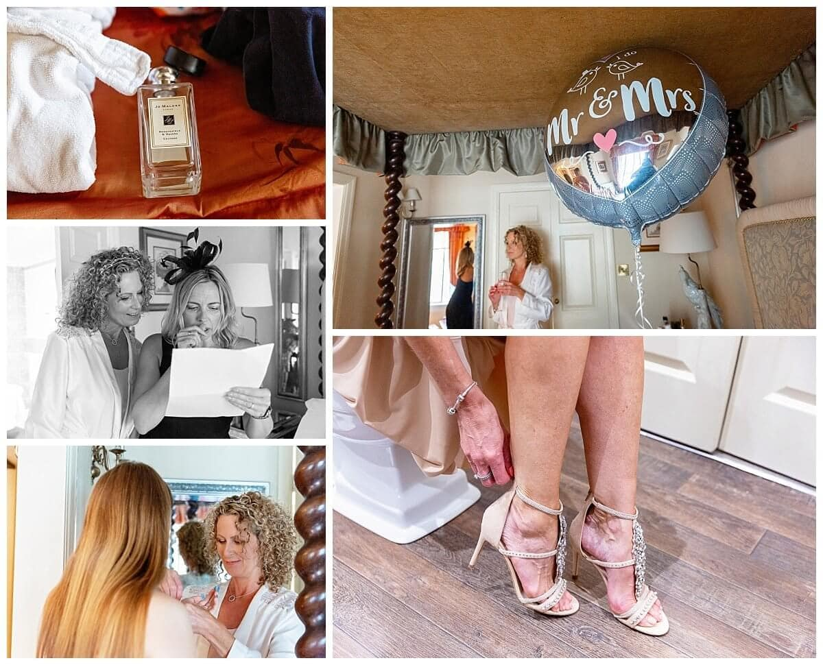Bride getting ready at The Talbot Hotel OUndle