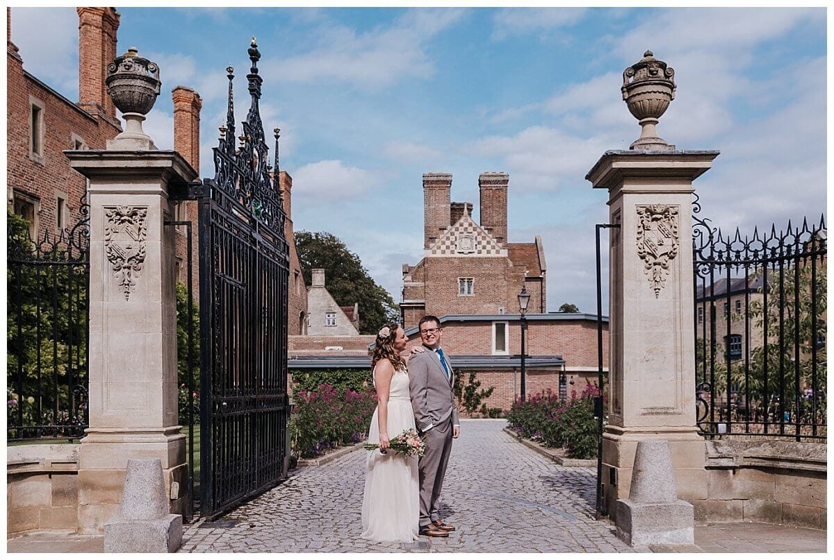 Bride and Groom at Magdalene College Cambridge