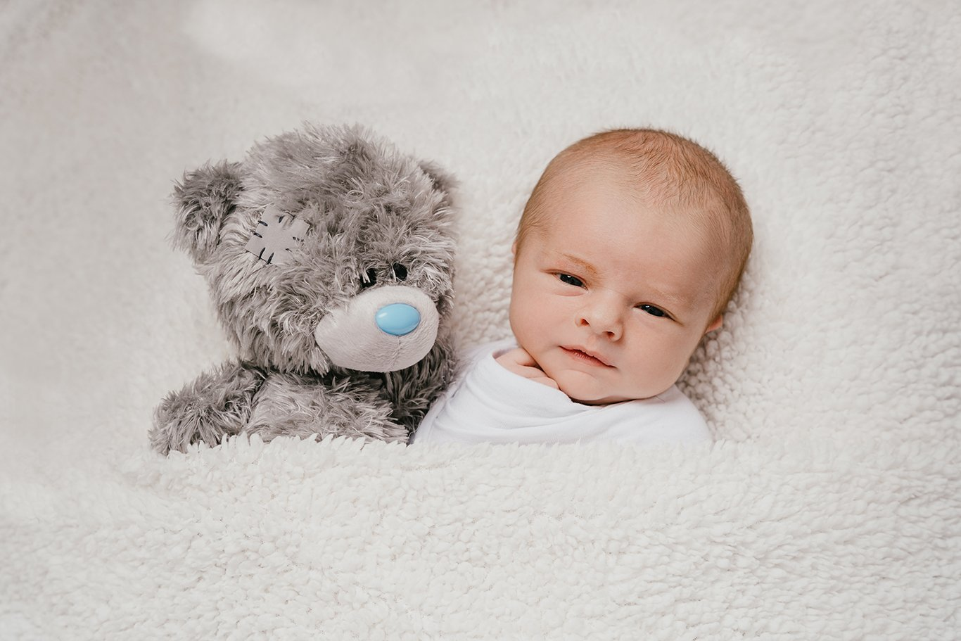 Newborn baby and Teddy